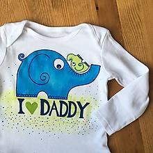 """Detské oblečenie - Maľované body so sloníkmi a nápisom """"I love daddy"""" - 10726653_"""