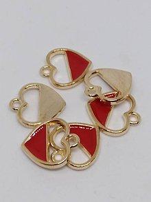 Komponenty - Kovové prívesky - srdiečka (Červená 16x15 mm) - 10725949_