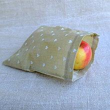 Úžitkový textil - FILKI voskáň - voskované vrecko (béžové vrecko so srdiečkami malé) - 10723944_