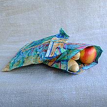 Úžitkový textil - FILKI voskáň - voskované vrecko (tyrkysová vzorovaná zvierací motív) - 10723951_