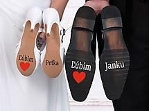 Iné doplnky - Nálepky na svadobné topánky - Ľúbim s menami - 10725483_