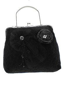 Kabelky - dámská kabelka Spoločenská čipková kabelka čierná 55 - 10730625_
