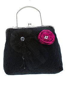 Kabelky - gothic dámská, kabelka spoločenská čipková kabelka čierná 51 (Modrá) - 10730650_