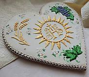 Dekorácie - Medovníkové srdce s hostiou, 23 cm - 10727832_