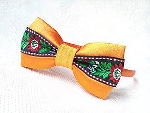 Ozdoby do vlasov - Folklórna čelenka (oranžová/čierna) - 10728646_