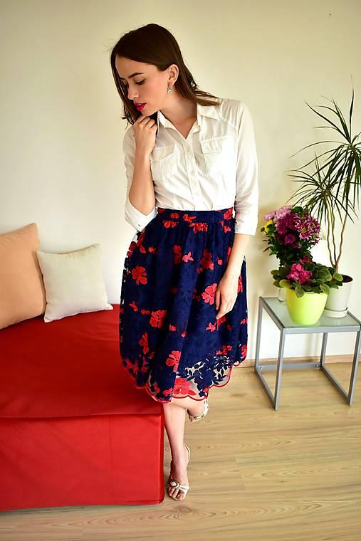 Krajková sukně EMILY, modro-červené květy