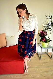 Sukne - Krajková sukně EMILY, modro-červené květy - 10727320_