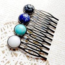 Ozdoby do vlasov - Elegant Gemstone Hair Comb / Hrebienok do vlasov s minerálmi /S0009 - 10728087_