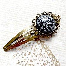 Ozdoby do vlasov - Vintage Snowflake Obsidian Hair Clip / Veľká vintage sponka s vločkovým obsidiánom - 10728125_