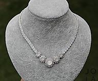 Náhrdelníky - Svadobný náhrdelník 'White Opal' so Swarovski® kryštálmi - 10729976_