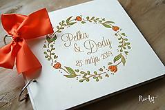 Svadobná kniha hostí, drevený fotoalbum - venček7