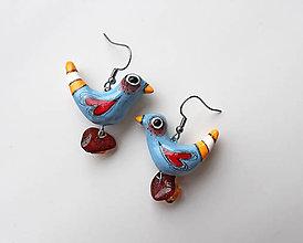 Náušnice - Vtáčatá modré - náušnice. - 10728713_