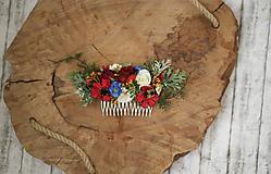 Ozdoby do vlasov - Folklórny kvetinový hrebienok do vlasov - 10729990_
