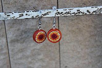 Náušnice - Naušky živicové slnečnica - 10728872_