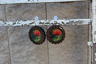 Náušnice - Naušky živicové drevené kvetinka - 10729059_