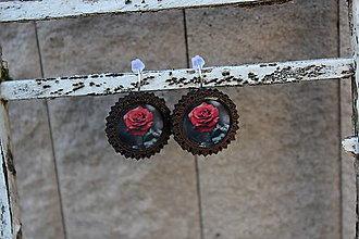 Náušnice - Naušky živicové drevené ruža - 10729069_