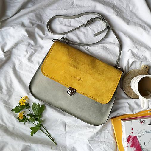 Kožená kabelka Vanessa (šedo-žltá)