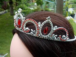 Ozdoby do vlasov - tiara, korunka, čelenka - červená - 10729633_