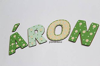Detské doplnky - Zelenkané drevené písmenká ÁRON - 10730082_