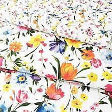 Textil - zakvitnutá lúka väčšia, 100 % predzrážaná bavlna Španielsko, šírka 150 cm, cena za 0,5 m - 10728118_