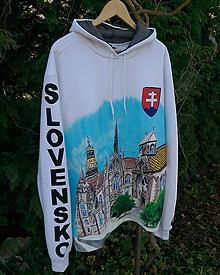 Mikiny - Ručne maľovaná pán.mikina s kapucňou-BIELA-DÓM SV. ALŽBETY - 10727585_