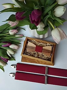 Doplnky - Pánsky set - drevený motýlik a traky - 10727274_