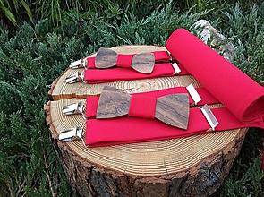 Doplnky - Set otec a syn - drevené motýliky, traky a manžetové gombíky - 10729850_