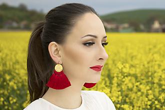 Náušnice - Zlaté náušnice so strapčekmi - červené - 10730389_