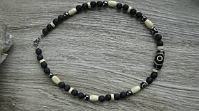 Šperky - Pánsky náhrdelník okolo krku z minerálov - chirurgická oceľ (láva+ hematit+DZI, č. 2676) - 10727964_
