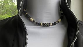 Šperky - Pánsky náhrdelník okolo krku z minerálov - chirurgická oceľ (láva+ hematit+DZI, č. 2676) - 10727965_