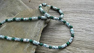 Šperky - Pánsky náhrdelník okolo krku z minerálov - chirurgická oceľ (sada ORIGINAL náhrdelník a náramok s malachitom, č. 2675) - 10727918_