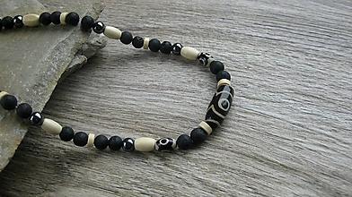 Šperky - Pánsky náhrdelník okolo krku z minerálov - chirurgická oceľ (láva+ hematit+DZI, č. 2676) - 10727971_