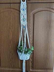 Dekorácie - Macramé  závesná dekorácia na kvetináč - 10728978_