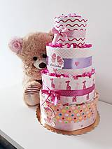 Detské doplnky - Plienková torta KLASIK ružová - 10729799_