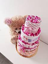 Detské doplnky - Plienková torta KLASIK ružová - 10729800_