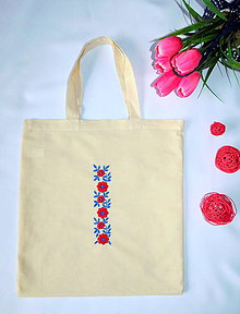 Nákupné tašky - Ručne vyšívaná nákupná taška - 10729702_