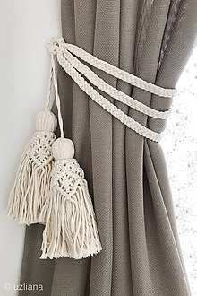 Dekorácie - Makramé úchyt na záves s 2 strapcami Elissa - 10730047_