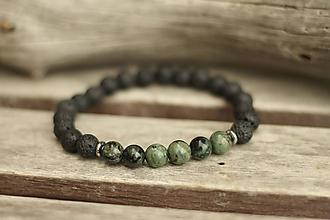 Šperky - Pánsky náramok z minerálov jaspis kambaba a láva - 10728769_