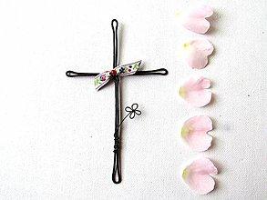 Dekorácie - krížik * 14,5cm (Ružová) - 10729572_