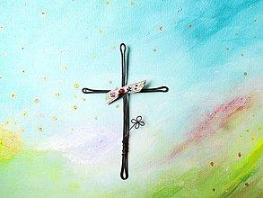 Dekorácie - krížik * 14,5cm (Ružová) - 10729578_