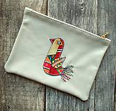 Taštičky - Ptáček červený - taštička kožená - 10730419_
