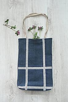 Nákupné tašky - Bodkovaná denim taška na rameno - 10727682_
