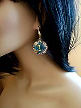 Náušnice - Živicové náušnice s morskou pannou, nerezová oceľ - 10728136_