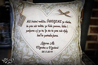 """Úžitkový textil - Vankúšik """"Poďakovanie krstným rodičom"""" No.5 - 10733366_"""