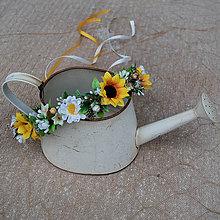 Ozdoby do vlasov - Venček so slnečnicami a margarétkami, letný, lúčny - 10732508_
