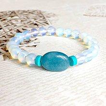 Náramky - Elastic Opalite, Jade & Turquoise Bracelet / Elastický náramok opalit, jadeit, tyrkys - 10733246_