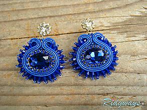 Náušnice - Blue/Sapphire...soutache - 10732602_