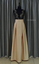 Sukne - Dlhá béžová dámska sukňa - 10734083_