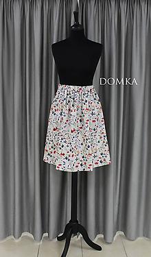 Sukne - Dámska ľanová kvetovaná sukňa - 10733804_