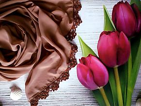 Šály - Vůně čokolády - šifonový šál s krajkou - 10733742_